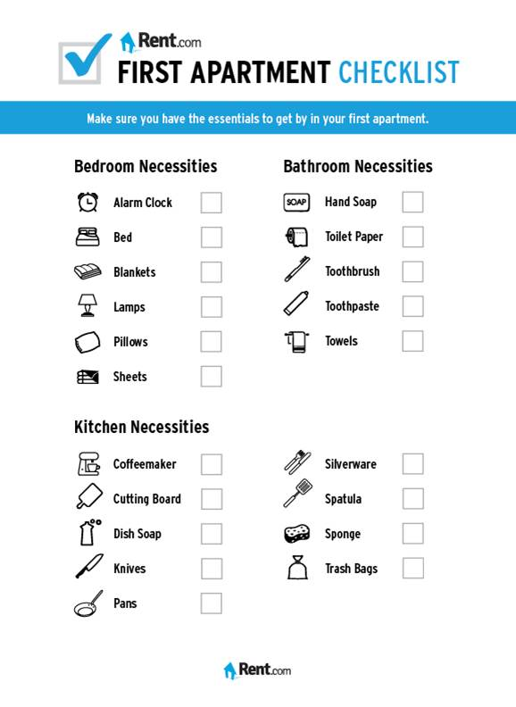 Your First Apartment Checklist - Rent Blog - checklist for moving