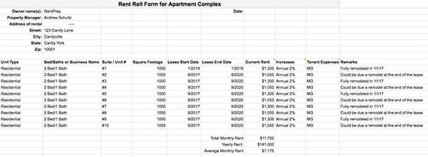 rent roll sample form RentPrep