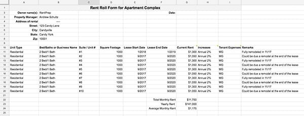 Rent Roll Template and Forms RentPrep