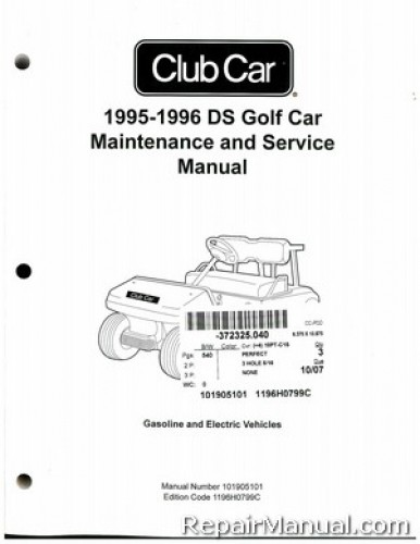 1995-1996 Club Car DS Golf Car Gas Electric Service Manual