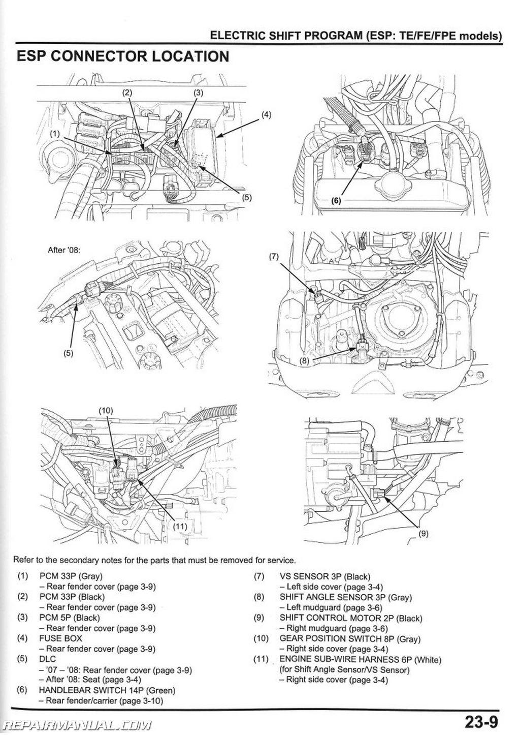 honda trx420 fourtrax rancher service manual 2007 2008