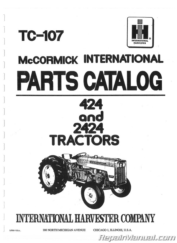 International Harvester 424 2424 Tractor Parts Manual
