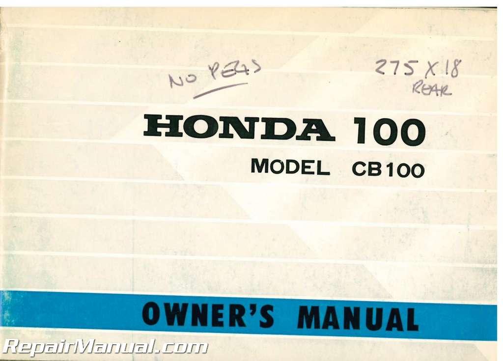 Used 1970-1971 Honda CB100K0 K1 Motorcycle Owners Manual