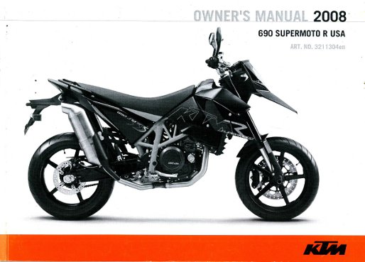 2008 KTM 690 Supermoto Motorcycle Owners Manual