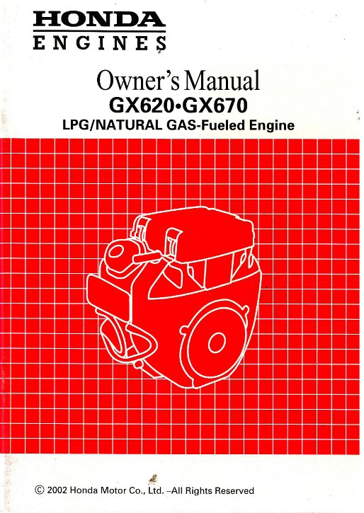 Honda GX620 And GX670 Dual Fuel Engine Owners Manual