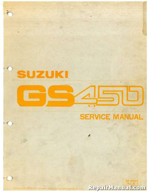 1979-1988 Suzuki GS450 Motorcycle Service Manual