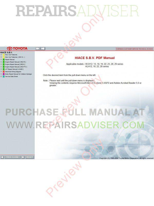 Toyota Hiace SBV 1995-2004 service manual Download