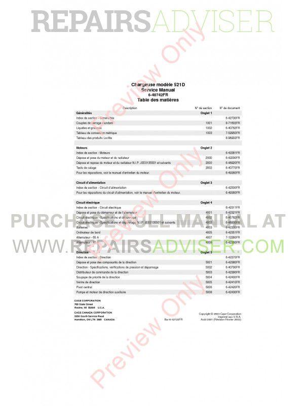 Case 521D Wheel Loader Service Manual PDF Download