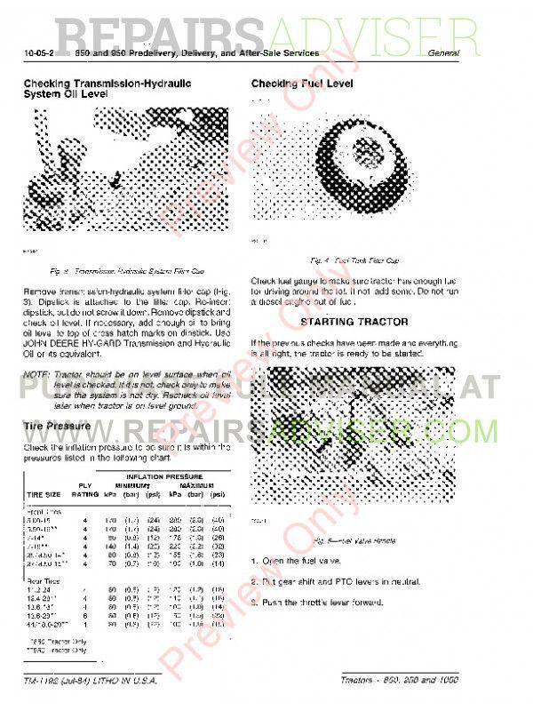John Deere 850, 900HC, 950 and 1050 Tractors Technical Manual TM
