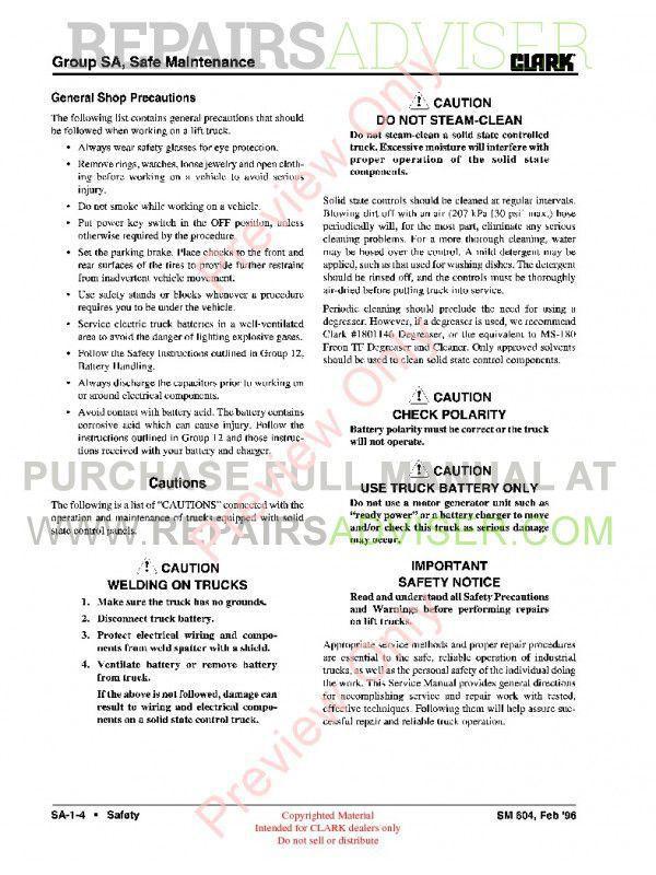 Clark EC500 60/80B Lift Trucks SM-604 Service Manual PDF Download