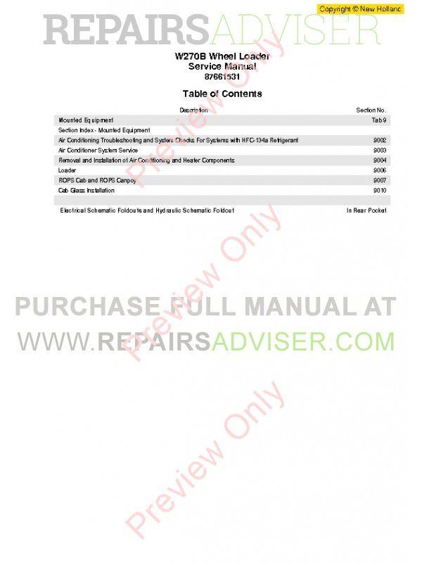 New Holland W270B Wheel Loader Workshop Manual PDF Download