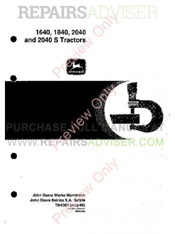 John Deere 1640-1840-2040-2040S Tractors Technical Manual TM-4363
