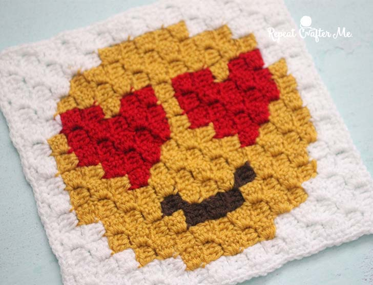 Heart Eyes Emoji C2C Crochet Square and Pixel Graph - Repeat Crafter ...
