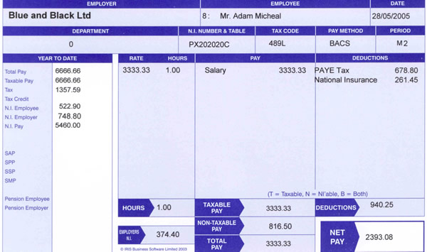 Payslip Template Printable   Blank Wage Slips