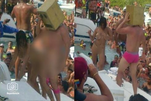 El cabeza de caja a bordo de una lancha fue observado y fotografiado por los cientos de espectadores.