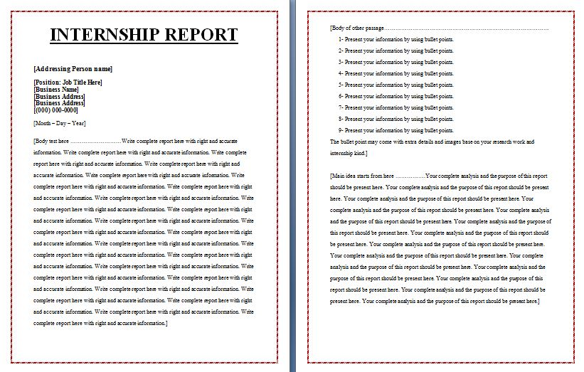 Internship Report Templates Free Report Writing Word Format
