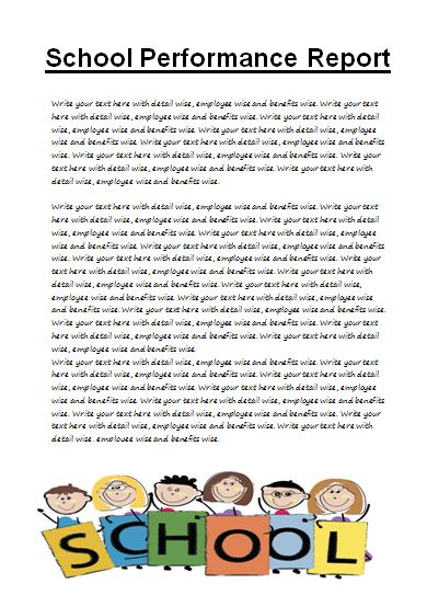 School Performance Report Template Free Word Report Writing Format
