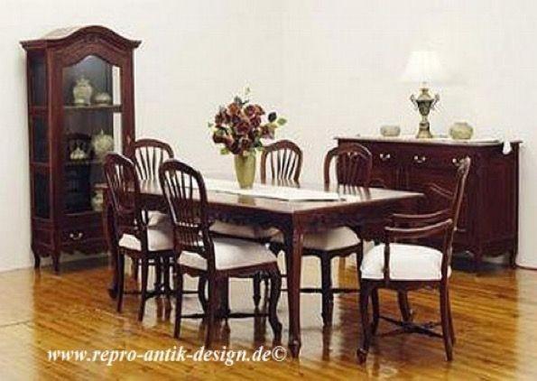 Barock Esszimmer Garnitur Kolonial G2 braun Tisch mit 6 Stühlen - esszimmer barock