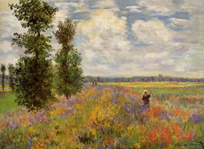 Oil Painting Reproduction of Monet- Poppy Field, Argenteuil