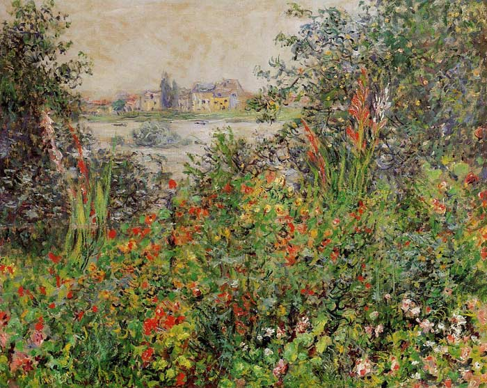 Oil Painting Reproduction of Monet- Flowers at Vetheuil