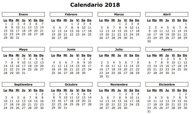 El calendario laboral para 2018 recoge diez festivos comunes en toda
