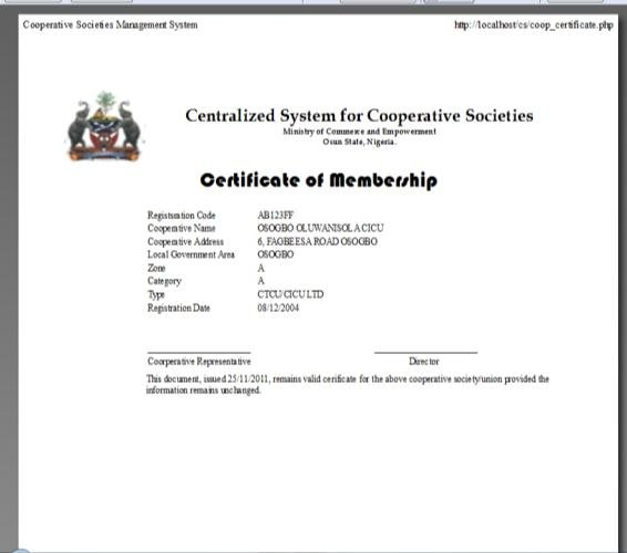 System Generated Certificate of Registration Sample Download