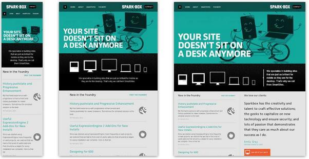 Examples of different layouts of responsive websites (Media Queries