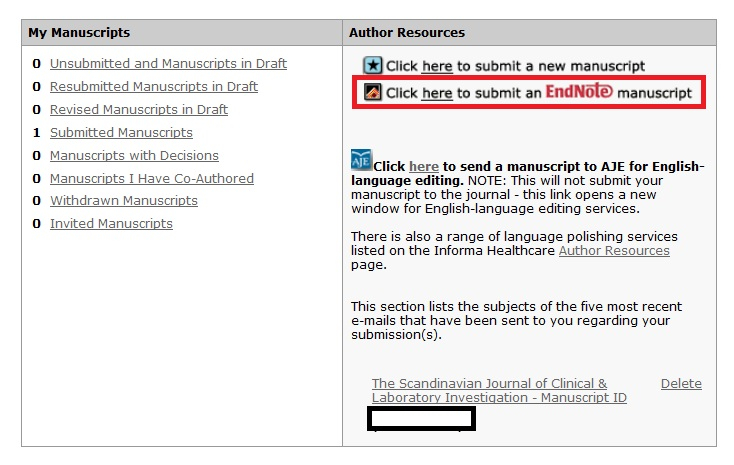 How to prepare manuscript in Endnote journal template format ?