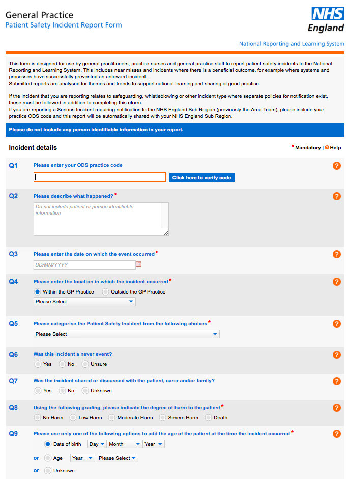 NHS England General Practice Incident Report Form Download