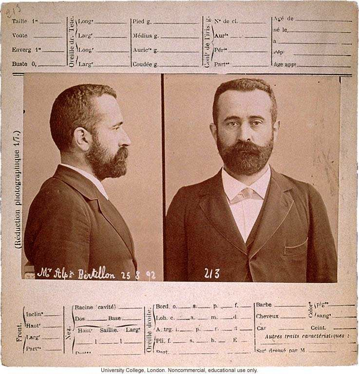 Anthropometry card of Alphonse Bertillon, who originated the
