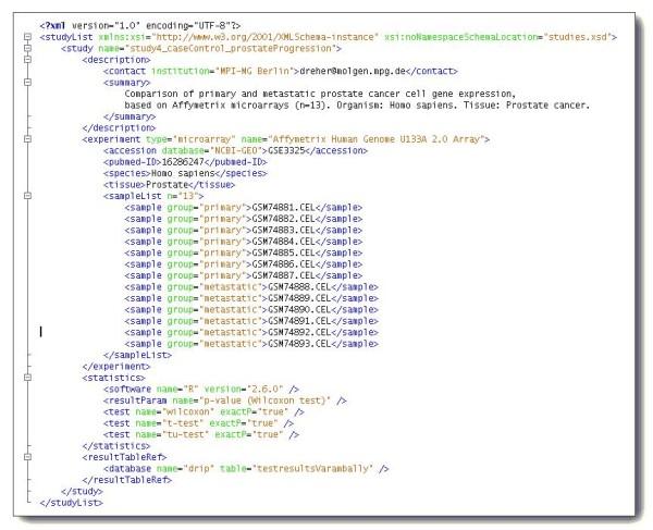 XML code for a custom data type \u0027study\u0027 This custom XML format