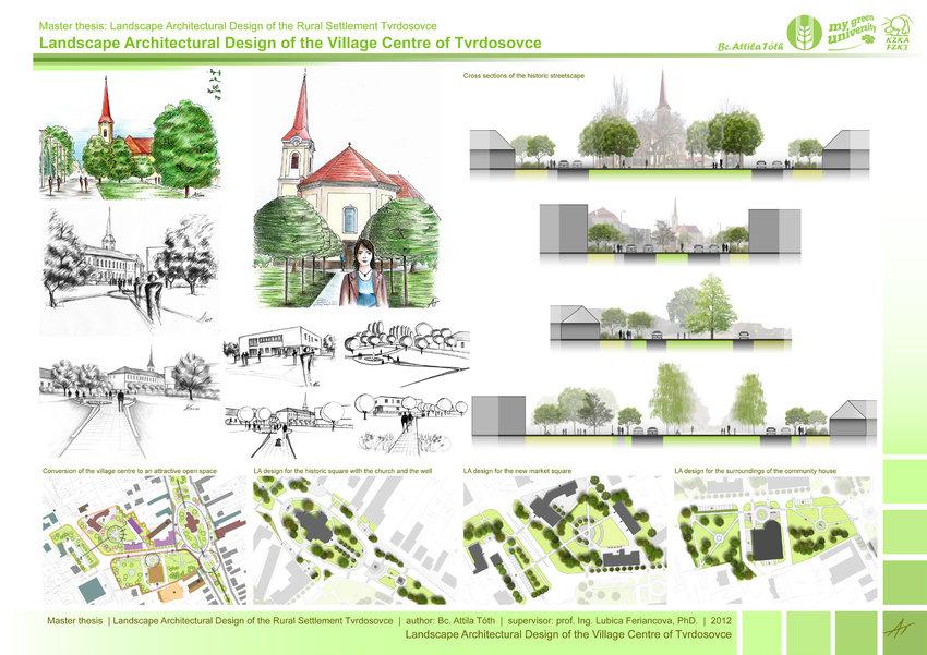 Landscape architectural design of the village center of Tvrdošovce