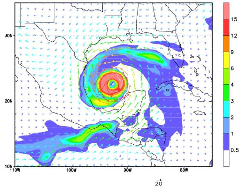 A hurricane simulated by the fvGCM showing the hurricane eye, eye