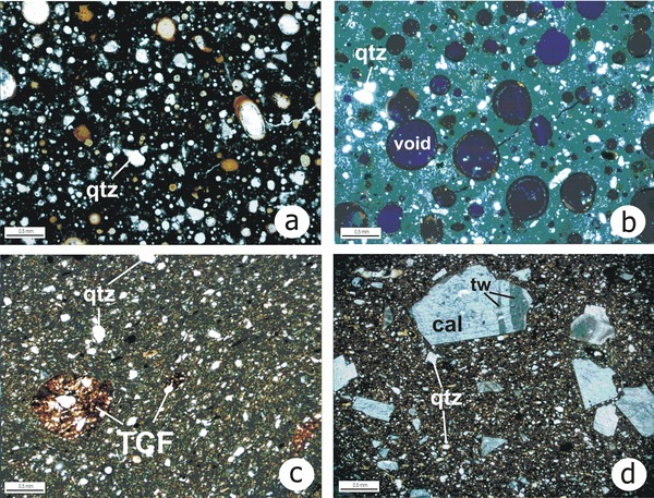 Microphotographs of pottery thin sections under crossed polars