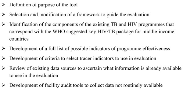 Summary of key steps in the development of HIV/TB/STI evaluation