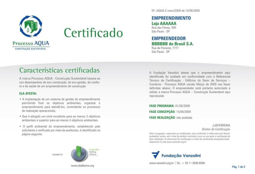 Figura 19 O modelo de certificado AQUA (frente) Download