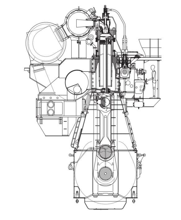 Intersection two-stroke low-speed marine engine ΜΑΝ ΒW 7S60MC