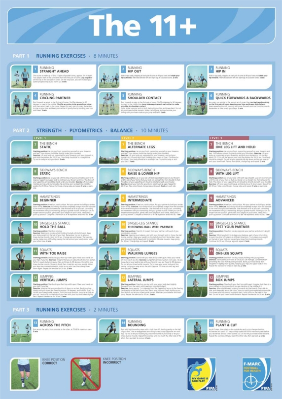 Poster of the 11+ Freely available at extranetfifa/medical