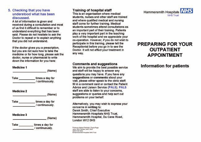 Example of a leaflet for new patients attending an outpatient