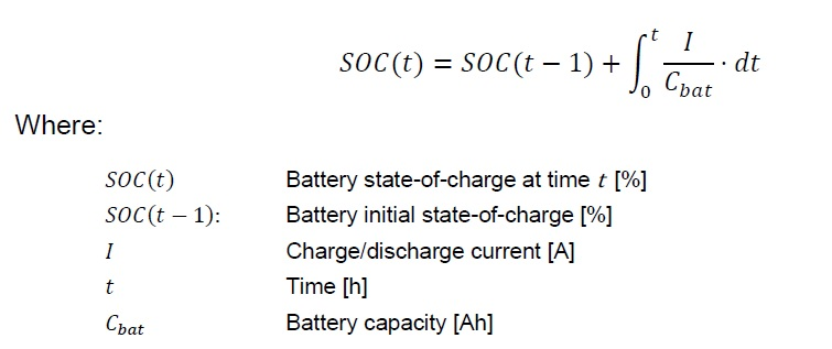 How can we calculate the state of Charge (SOC) of the battery in on