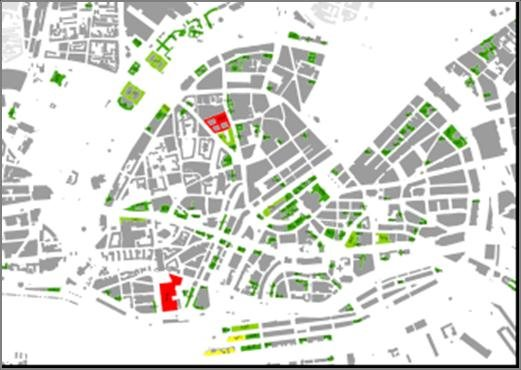 Map of Hamburg city centre displaying the DSI potential for HVAC in