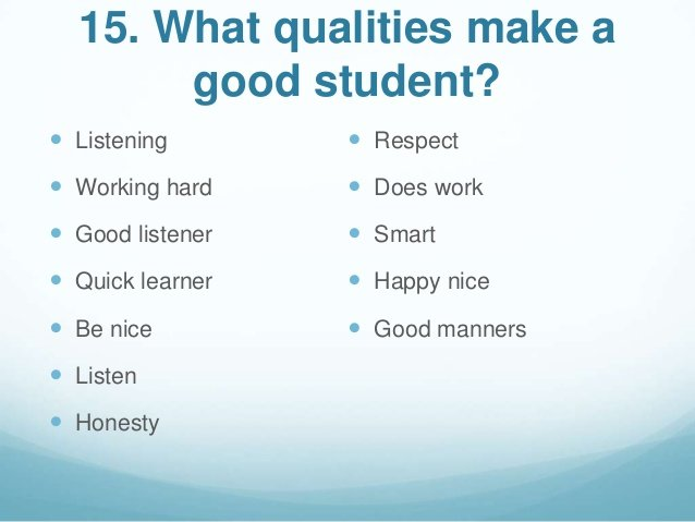 What are the qualities of a good student? Solved