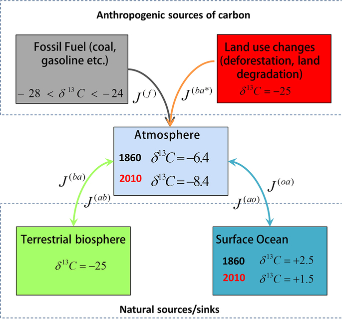 Box model representing atmospheric carbon stable isotope mixing by