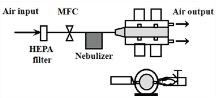 Schematic diagram of aerosol gene delivery devices HEPA filter