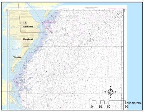Georeferenced NOAA nautical chart covering Cape May to Cape Hatteras