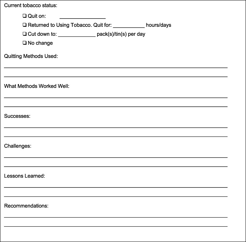 Sample follow-up form for patients setting a quit date Download - sample form