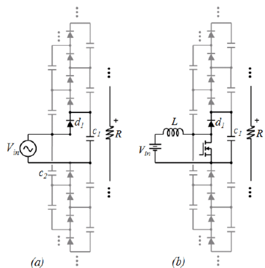voltage multiplier with diodes and capacitors