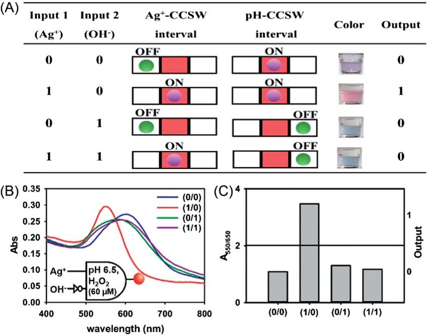 The CCSW-based INHIBIT logic gate (A) the truth table of the