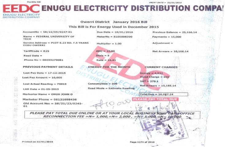 Typical Nigerian EEDC Energy Bill format, (Author\u0027s sample, 2016