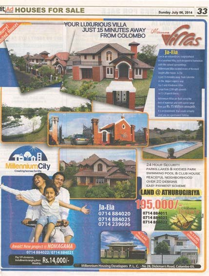 Magazines advertisements for suburban villas and detached houses